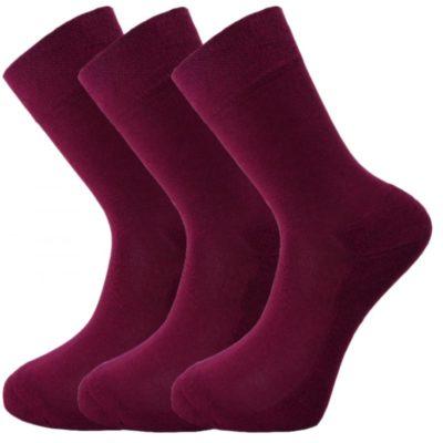 Bamboe sokken 3 paar in Donker Rood